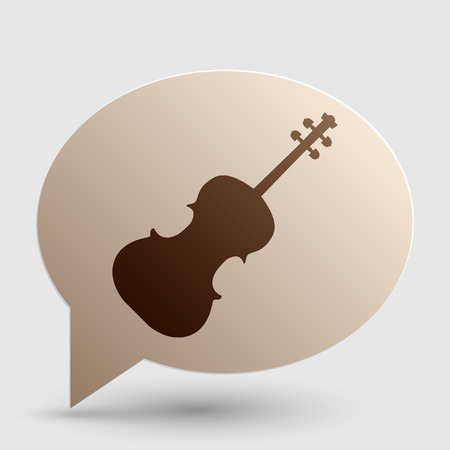 Violine sign illustration. Brown gradient icon on bubble with shadow.