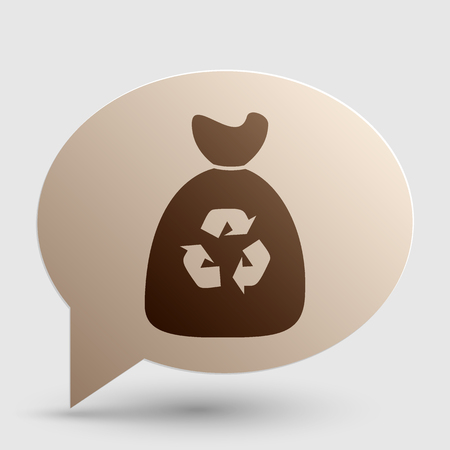 Trash bag icon. Brown gradient icon on bubble with shadow.