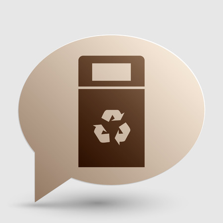 trashing: Trashcan sign illustration. Brown gradient icon on bubble with shadow. Illustration