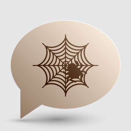 spidery: Spider on web illustration Brown gradient icon on bubble with shadow. Illustration