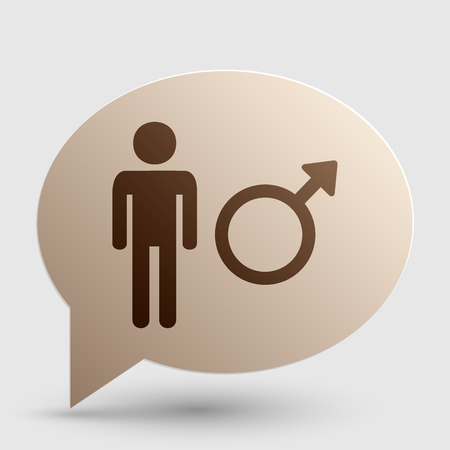 andropause: Male sign illustration. Brown gradient icon on bubble with shadow. Illustration