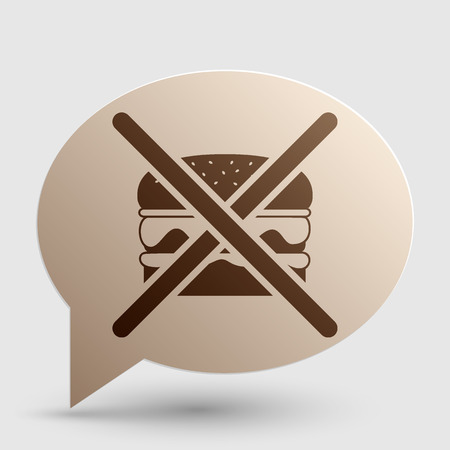 No burger sign. Brown gradient icon on bubble with shadow. Illustration