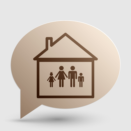 socialize: Family sign illustration. Brown gradient icon on bubble with shadow. Illustration