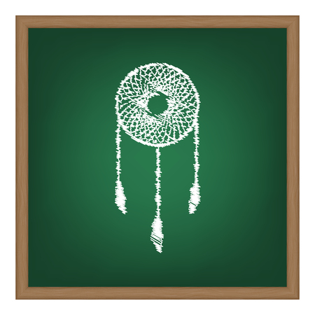 swelled: Dream catcher sign. White chalk effect on green school board.
