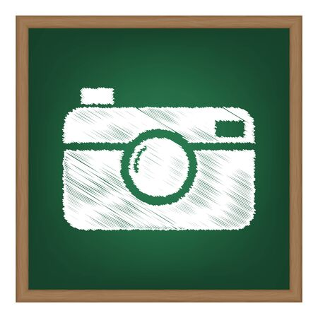 whim of fashion: Digital photo camera sign. White chalk effect on green school board.