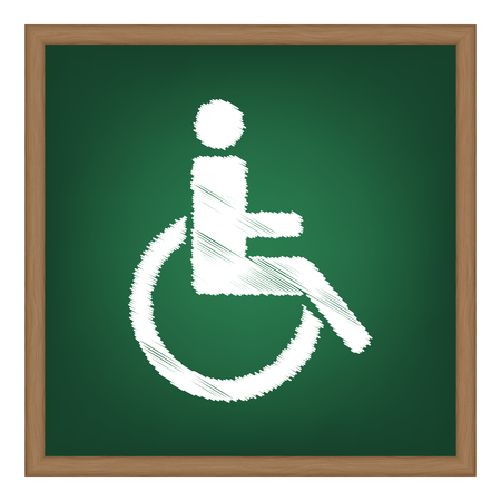 medicine wheel: Disabled sign illustration. White chalk effect on green school board.