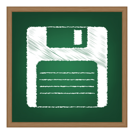 old pc: Floppy disk sign. White chalk effect on green school board. Illustration