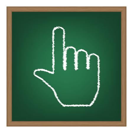 depress: Hand sign illustration. White chalk effect on green school board.