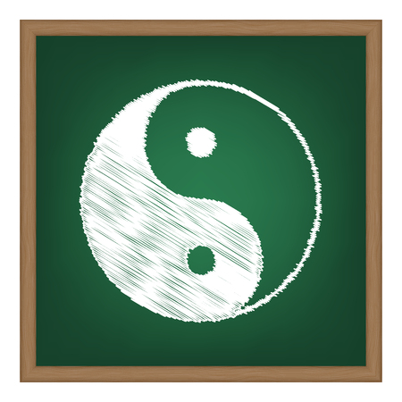 Ying yang symbol of harmony and balance. White chalk effect on green school board. Illustration