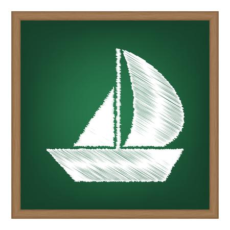 sail board: Sail Boat sign. White chalk effect on green school board. Illustration