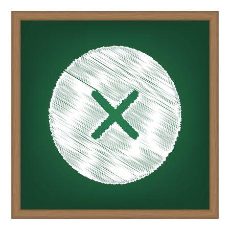 Cross sign illustration. White chalk effect on green school board.