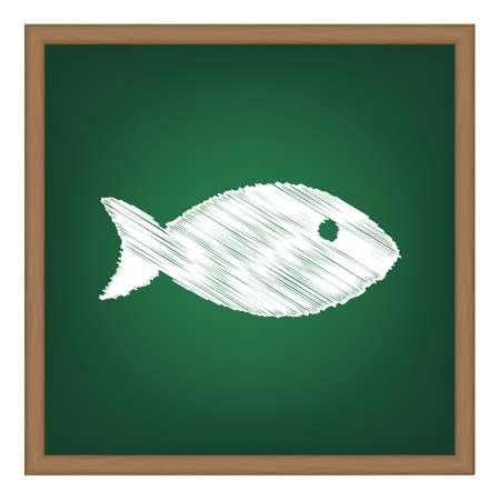 school of fish: Fish sign illustration. White chalk effect on green school board.