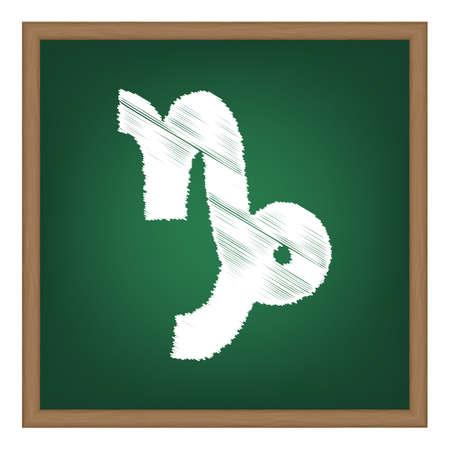ecliptic: Capricorn sign illustration. White chalk effect on green school board.