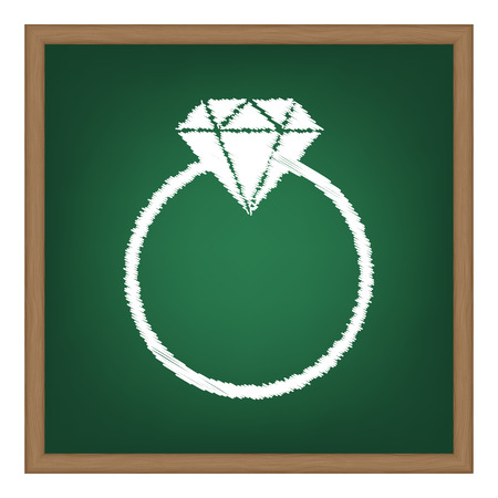 spoil: Diamond sign illustration. White chalk effect on green school board.