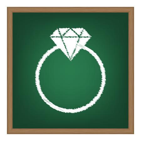 Diamond sign illustration. White chalk effect on green school board.