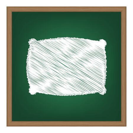 softy: Pillow sign illustration. White chalk effect on green school board.