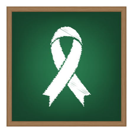 substance abuse awareness: Black awareness ribbon sign. White chalk effect on green school board.