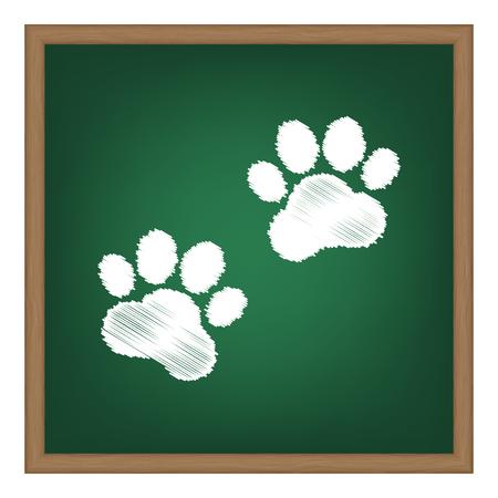 huellas de animales: Animal Tracks sign. White chalk effect on green school board.