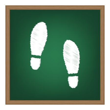 Imprint soles shoes sign. White chalk effect on green school board.