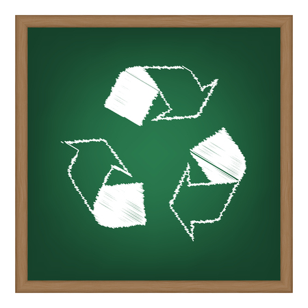 recycle logo: Recycle logo concept. White chalk effect on green school board. Illustration