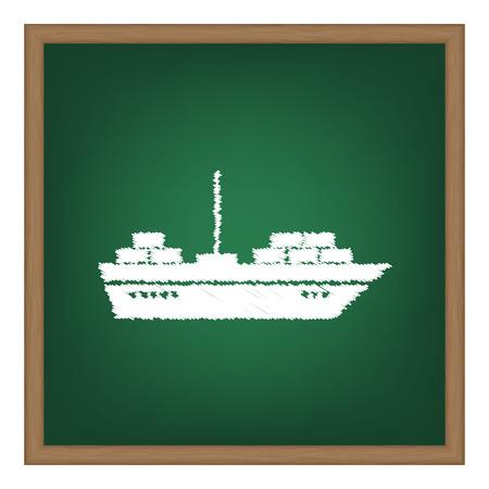 ship sign: Ship sign illustration. White chalk effect on green school board.