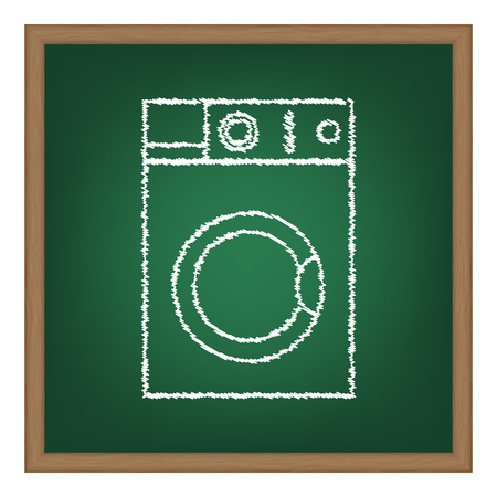 major household appliance: Washing machine sign. White chalk effect on green school board.