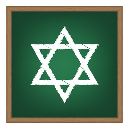 magen david: Shield Magen David Star. Symbol of Israel. White chalk effect on green school board.