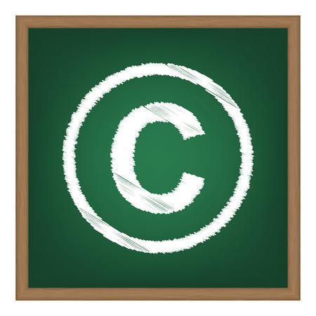 Copyright sign illustration. White chalk effect on green school board.