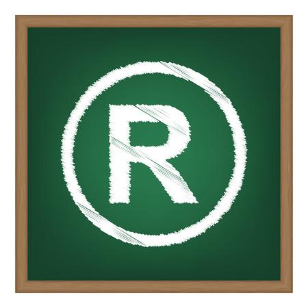 Registered Trademark sign. White chalk effect on green school board.