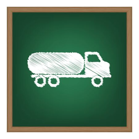 toxic substance: Car transports sign. White chalk effect on green school board. Illustration