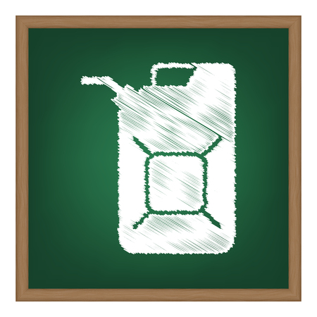 jerry: Jerrycan oil sign. Jerry can oil sign. White chalk effect on green school board.