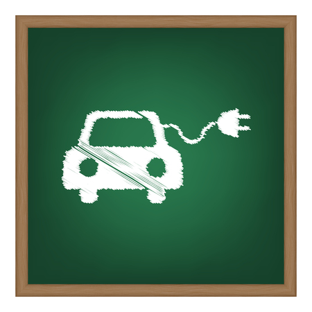 echnology: Eco electric car sign. White chalk effect on green school board.