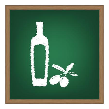 salad dressing: Black olives branch with olive oil bottle sign. White chalk effect on green school board.