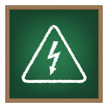 volte: High voltage danger sign. White chalk effect on green school board. Illustration