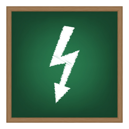 voltage danger: High voltage danger sign. White chalk effect on green school board. Illustration