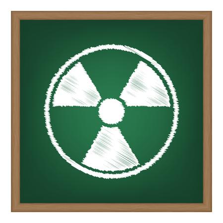 Radiation Round sign. White chalk effect on green school board.