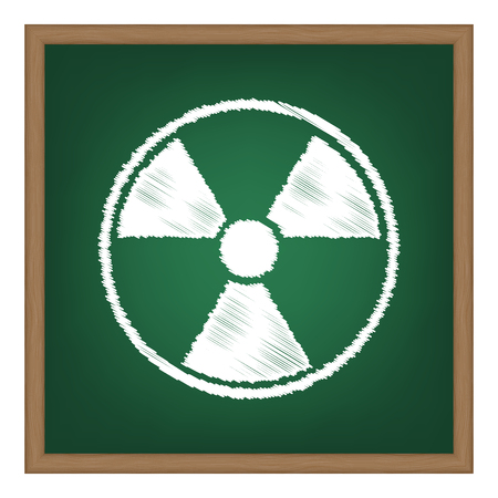 perilous: Radiation Round sign. White chalk effect on green school board.