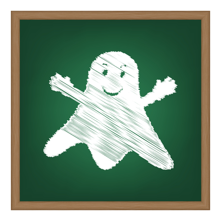 ghastly: Ghost isolated sign. White chalk effect on green school board.