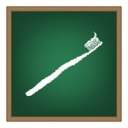 portion: Toothbrush with applied toothpaste portion. White chalk effect on green school board. Illustration