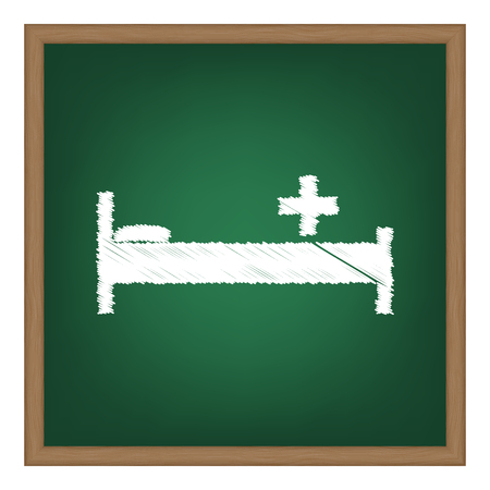 surgery stretcher: Hospital sign illustration. White chalk effect on green school board.