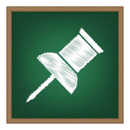 pin board: Pin push sign. White chalk effect on green school board.