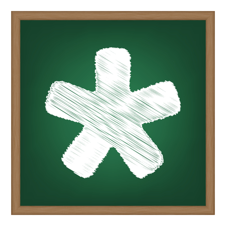 reference point: Asterisk star sign. White chalk effect on green school board.