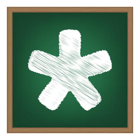 Asterisk star sign. White chalk effect on green school board.