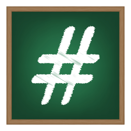 microblogging: Hashtag sign illustration. White chalk effect on green school board.