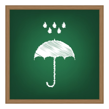 nylon: Umbrella with water drops. Rain protection symbol. Flat design style. White chalk effect on green school board. Illustration
