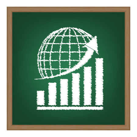 Growing graph with earth. White chalk effect on green school board. Illustration