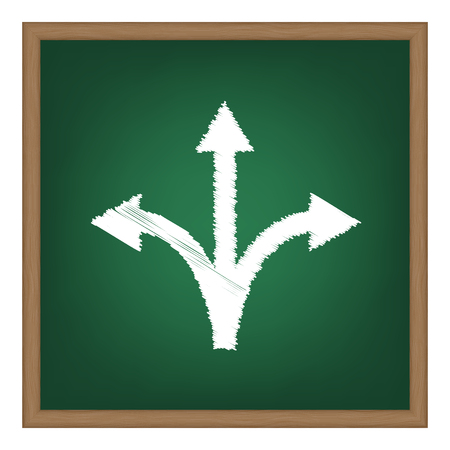 fork in the road: Three-way direction arrow sign. White chalk effect on green school board. Illustration