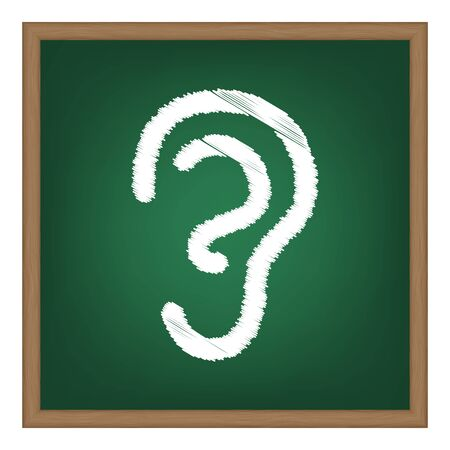 listener: Human ear sign. White chalk effect on green school board. Illustration