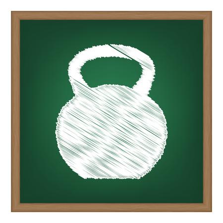 Fitness Dumbbell sign. White chalk effect on green school board. Illustration