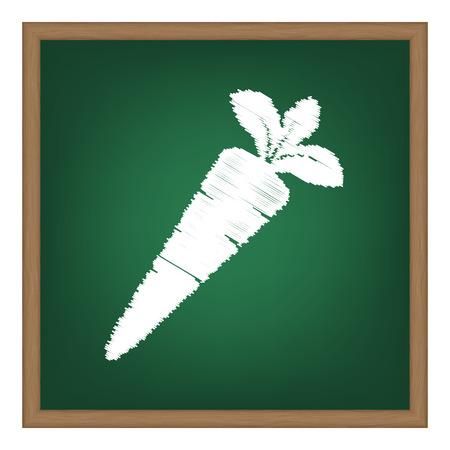 delectable: Carrot sign illustration. White chalk effect on green school board. Illustration